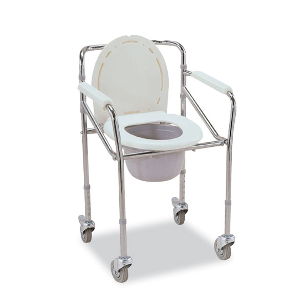 Chrome Foldable Mobile Commode (with wheels)
