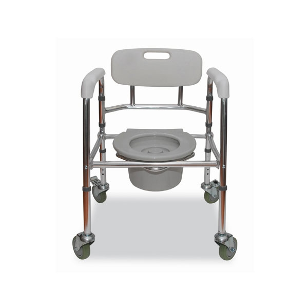 Aluminium Foldable Mobile Commode Chair (with wheels)